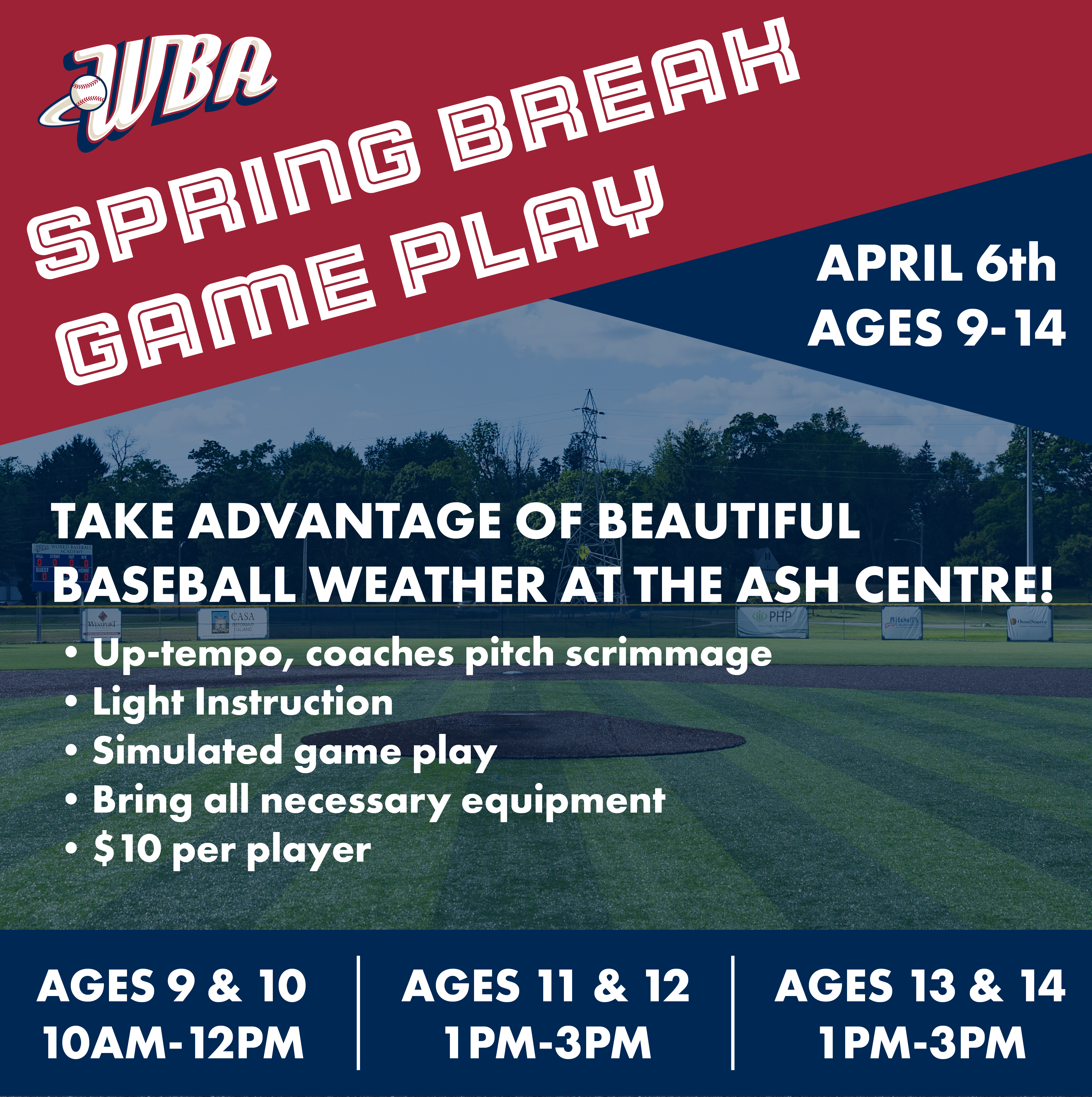 Spring Break Game Play Graphic with Schedule